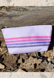 Light purple striped zipper bag for cosmetics for sale at Raspberry Lane Crafts