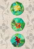 Leaf Hangers Pattern is a series of three round quilted circles with a different centered leaf design: a red oak, orange aspen, and yellow maple leaf on green - paper pieced quilting.  Raspberry Lane Crafts.  Purchase pattern.
