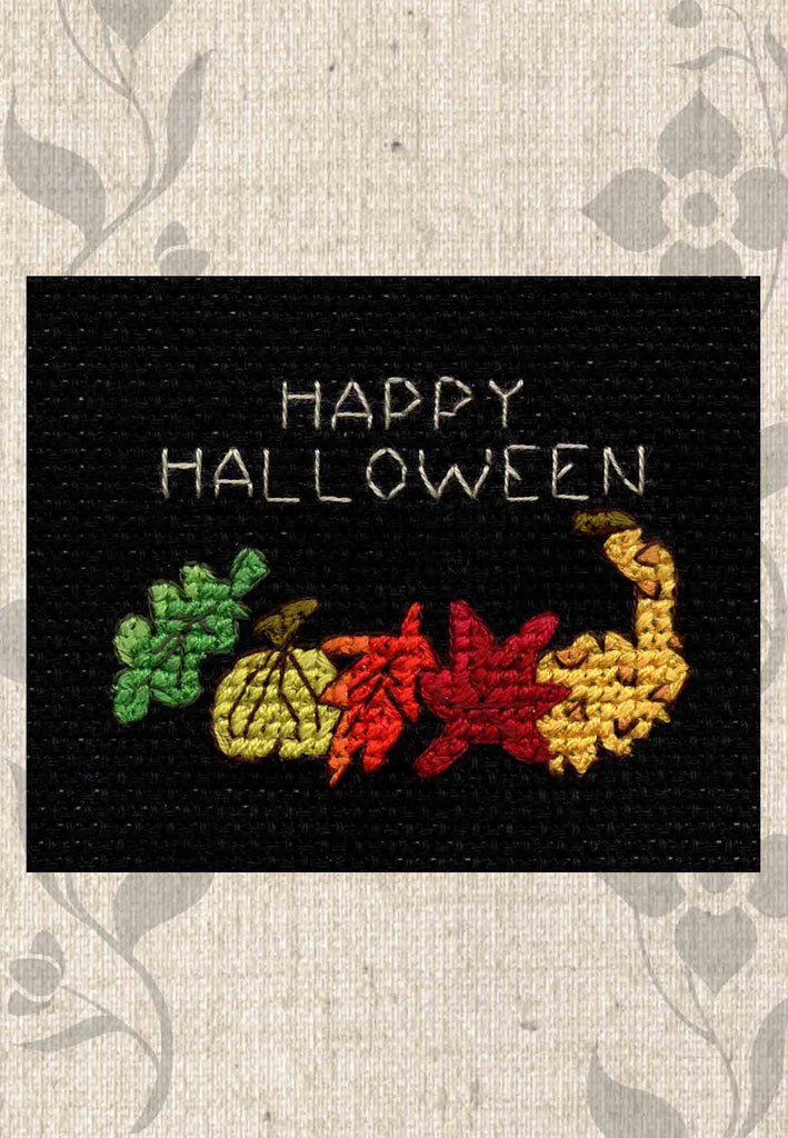 Buy Halloween Cross Stitch Pattern. Leaves and Gourds is part of the Halloween Night Collection cross stitch patterns at Raspberry Lane Crafts with a green leaf, chartreuse pumpkin, orange oak leaf, red maple leaf and yellow gourd.