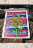 Liberty Art Print features red white and blue with yellow sunflower.  The Art of Wendy Christine.  For Sale at Raspberry Lane Crafts.