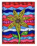 """Liberty"" print is a yellow sunflower with green stem on a background of vivid red, white, and blue waves decorated in black patterns."