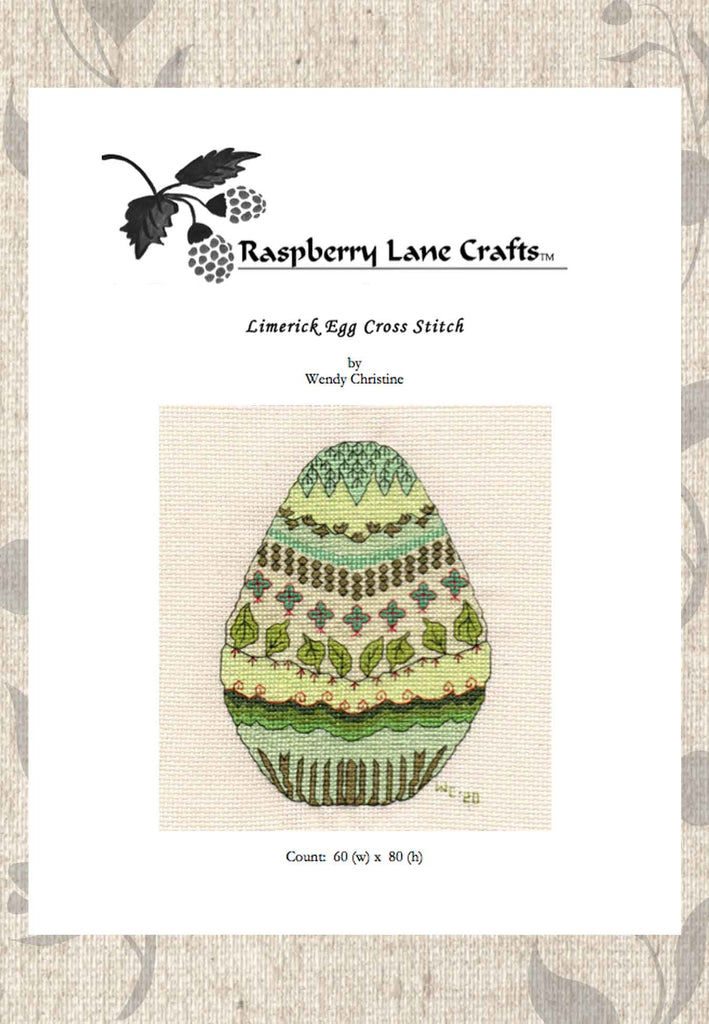 Decorated Easter Egg Green Cross Stitch Pattern Download for Sale at Raspberry Lane Crafts