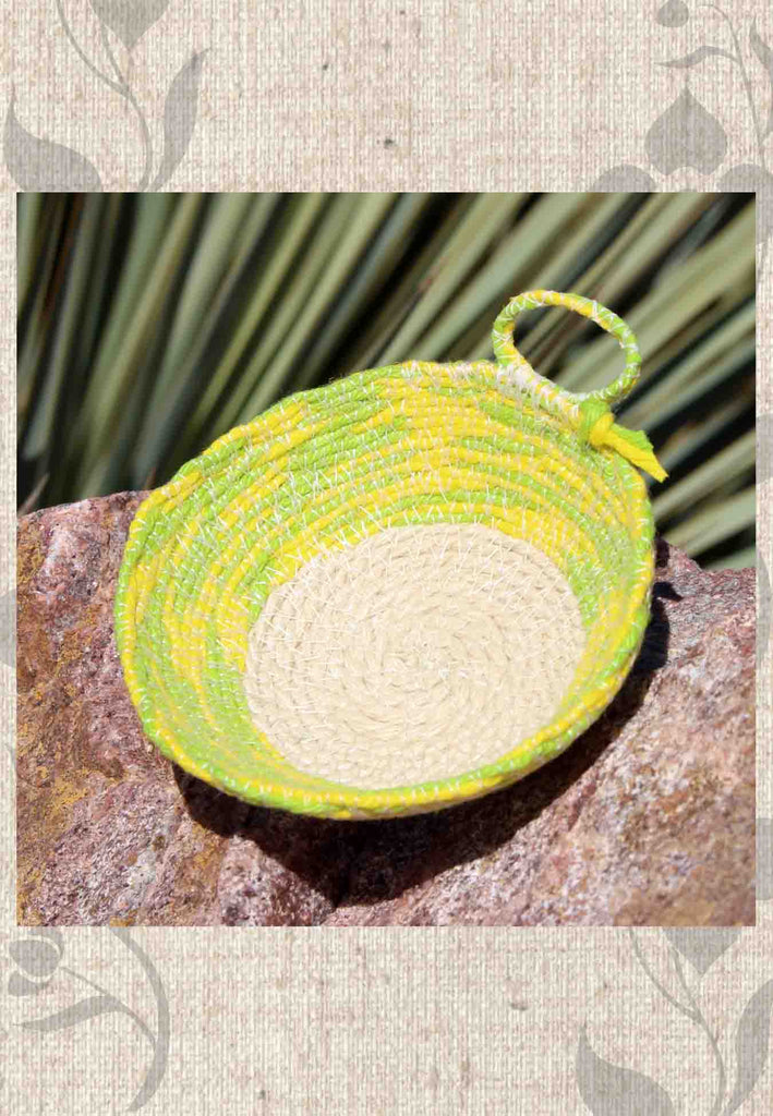 Buy artisanal green yellow mini baskets for sale at Raspberry Lane Crafts