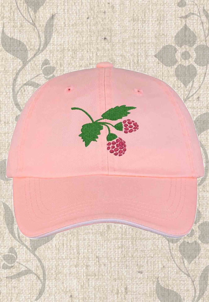 Light pink Port Authority Sandwich Bill Cap with Striped Closure for sale with Raspberry Lane Crafts Logo