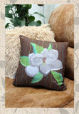 White Magnolia Flower on Brown Throw Pillows for Sale at Raspberry Lane Crafts.
