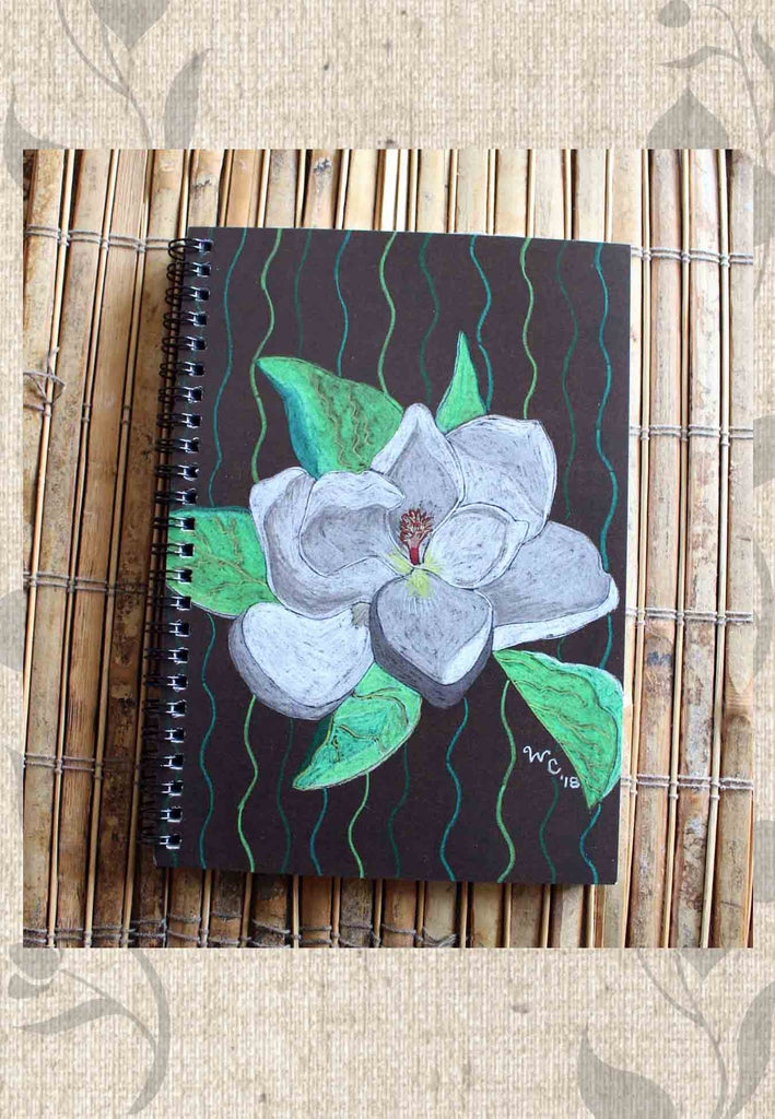 Buy Brown Spiral Notebook with White Flower - Magnolia Tree Blossom Spiral Notebook for Sale at Raspberry Lane Crafts.