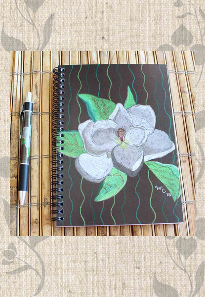 Magnolia Tree Blossom Notebook And Pen Gift Set By Wendy border=