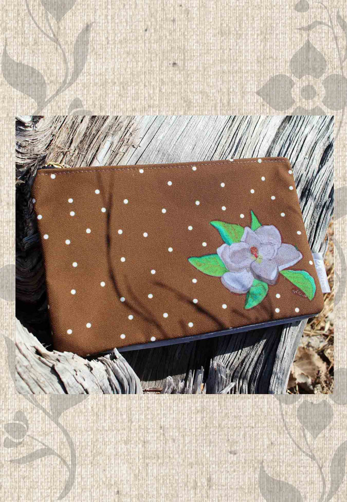 White Dotted Brown Zipper Bag with White Flower for Sale - Magnolia Tree Blossom Accessory Pouches at Raspberry Lane Crafts
