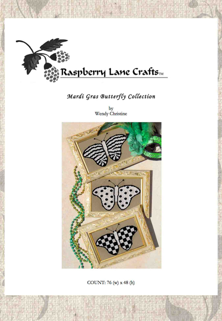 Buy Black and White Harlequin Design Butterfly Cross Stitch Pattern at Raspberry Lane Crafts