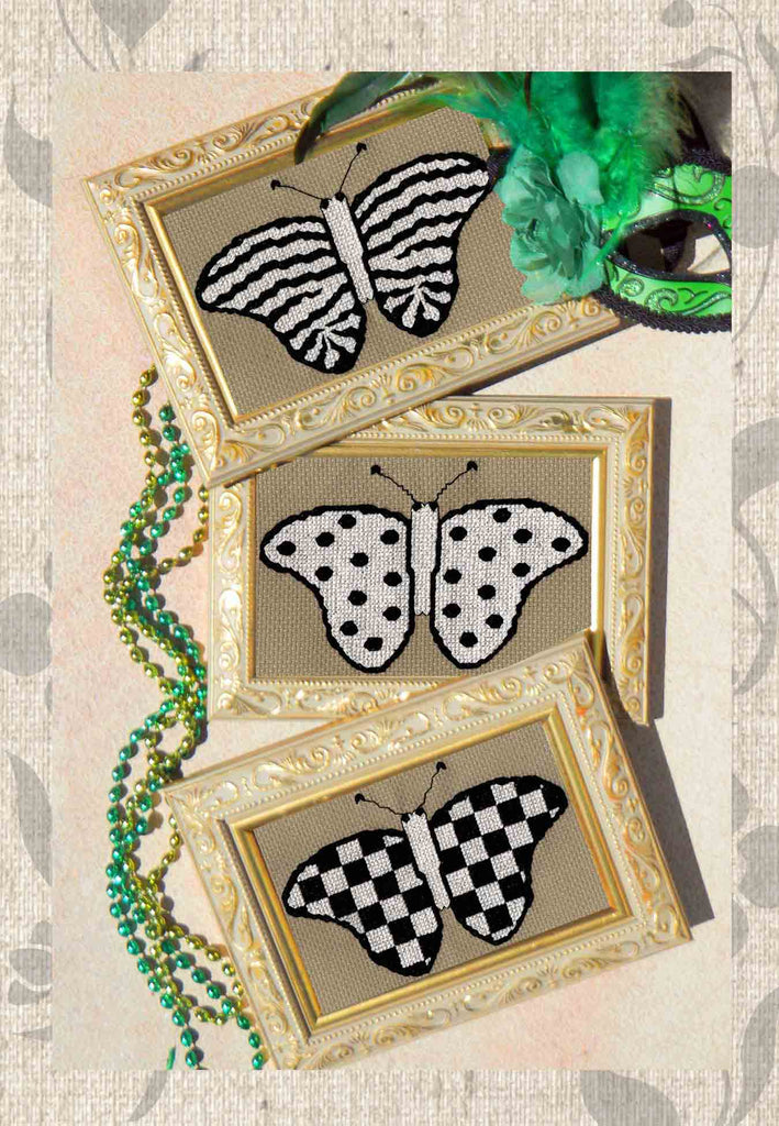 Buy Black and White Butterflies Cross Stitch pattern Mardi Gras Butterflies at Raspberry Lane Crafts