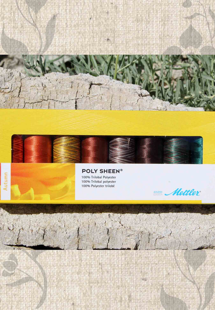 Mettler Poly Sheen Autumn 8 piece embroidery sewing thread for sale at Raspberry Lane Crafts