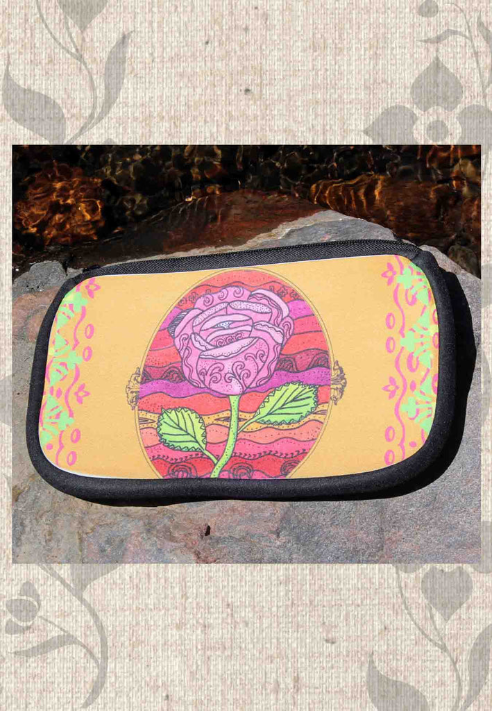 Mission Rose Fiesta Cosmetic Bags for Sale an orange bag with bright flower is very festive.  For Sale at Raspberry Lane Crafts