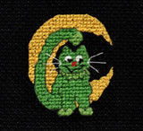 Buy Moony Cat is a green cat with a yellow crescent moon background cross stitch, a part of the Halloween Night Collection at Raspberry Lane Crafts for Sale. Download
