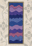 Buy Mountain Air Purple Bookmark Cross Stitch Pattern features waves of violet and periwinkle resembling mountains