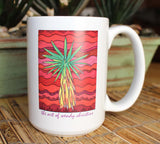 Yucca Tree Mug Southwest Cactus Design in Red Green and Yellow for sale from The Art of Wendy Christine
