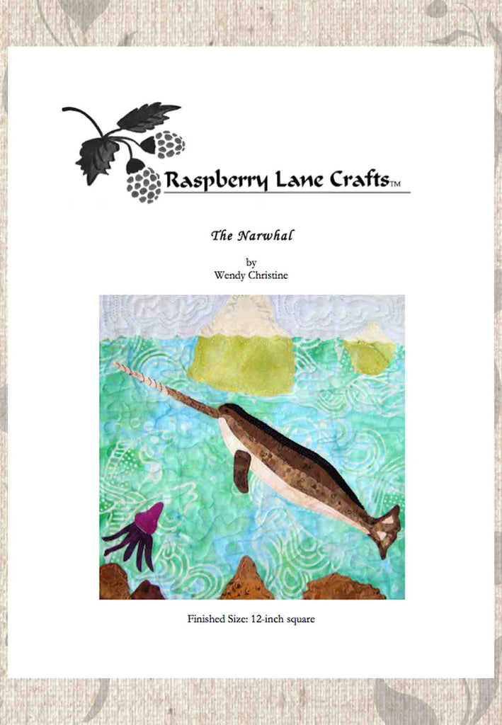 Narwhal quilt block pattern download for sale with squid and icebergs