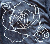 Open Rose Women's T-Shirt in Navy