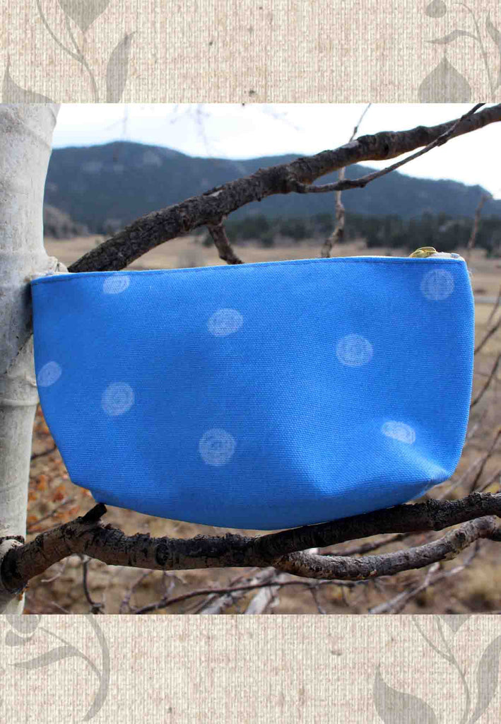 Sea Water Dot Blue Accessory Pouches for Sale Zipper Bags for Travel Bathroom Cosmetics