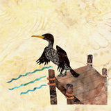 Buy On the Dock featuring a water bird cormorant on a fishing pier at Raspberry Lane Crafts.