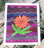Purple Southwest art print with orange blossom cactus 8 x 10 inch print for sale at Raspberry Lane Crafts