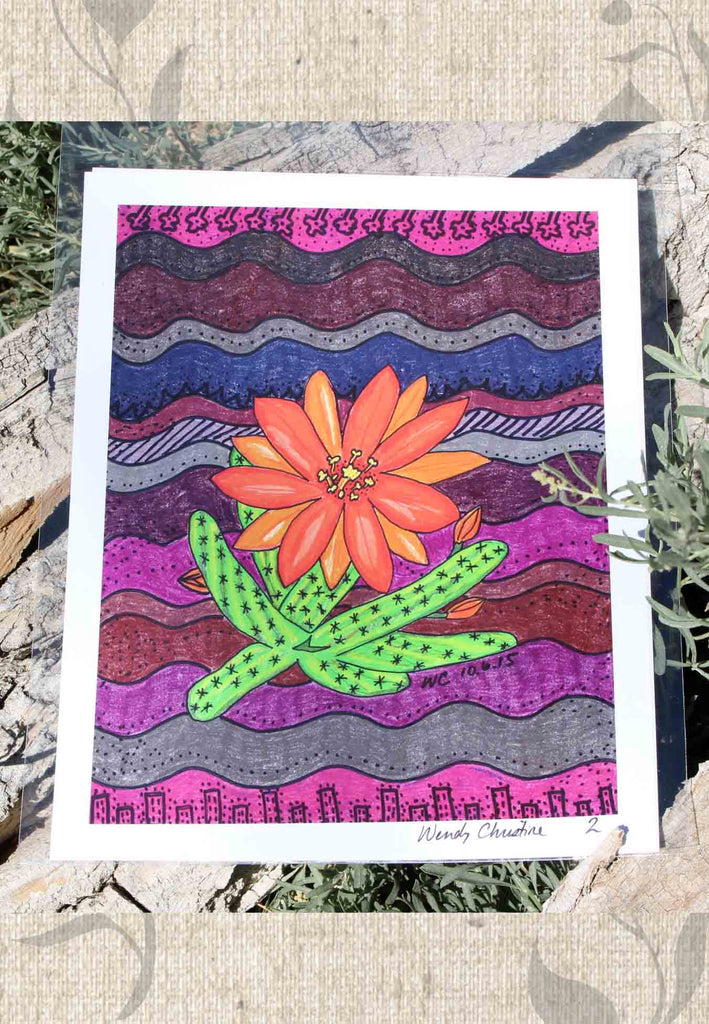 Orange Blossom Cactus Art Print for Sale at Raspberry Lane Crafts Signed by Artist Wendy Christine