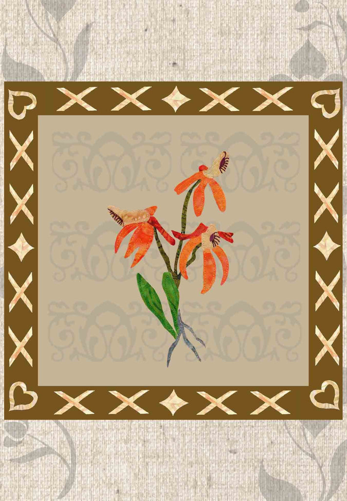 Buy orange orchid flowers quilt pattern at Raspberry Lane Crafts.