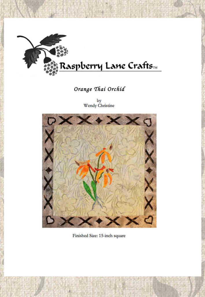Orange Thai Orchid quilt block pattern for sale 15-inch block download