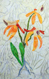Close-up of Orange Thai Orchid Quilt Block pattern features several shades of orange petals with bright green leaves.