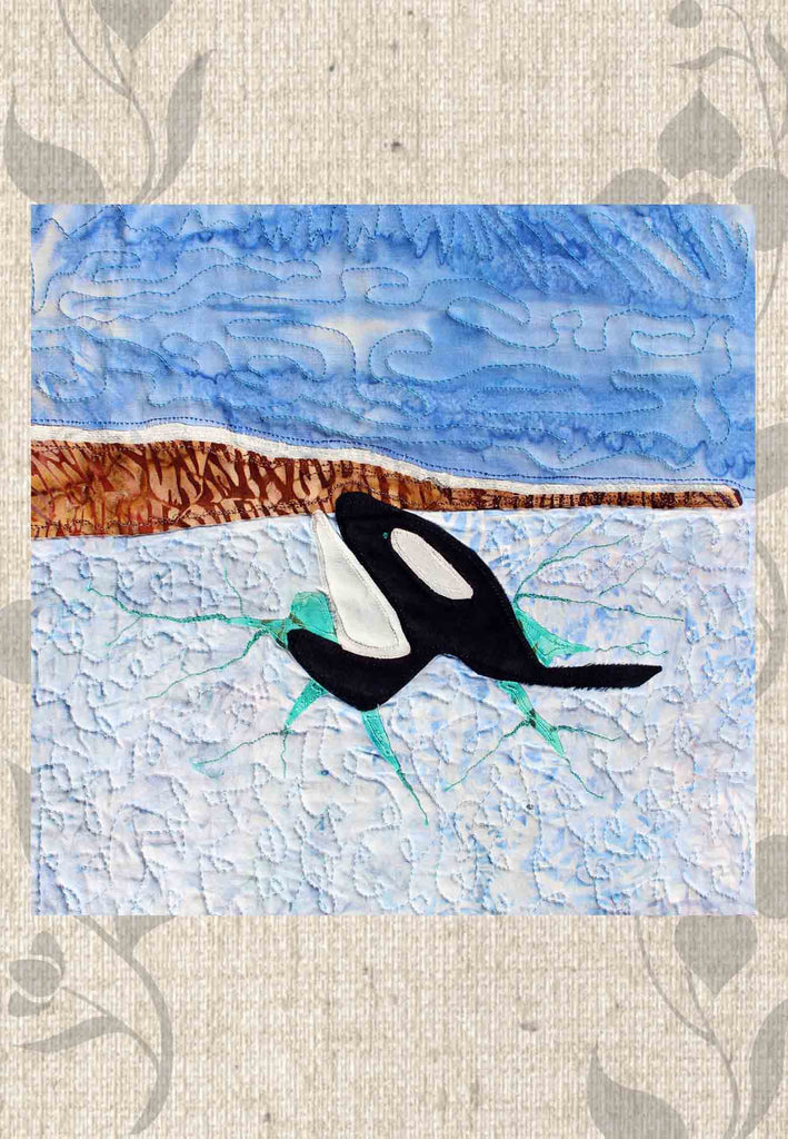 Orca quilt block pattern for sale at Raspberry Lane Crafts