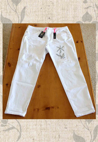 I Heart Ronson White Boyfriend Jean with Orchid Love Embroidery