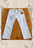 Size 14 Light Blue Jeans Hand-Embroidered with Flower Orchid for Sale Buy Purchase at Raspberry Lane Crafts