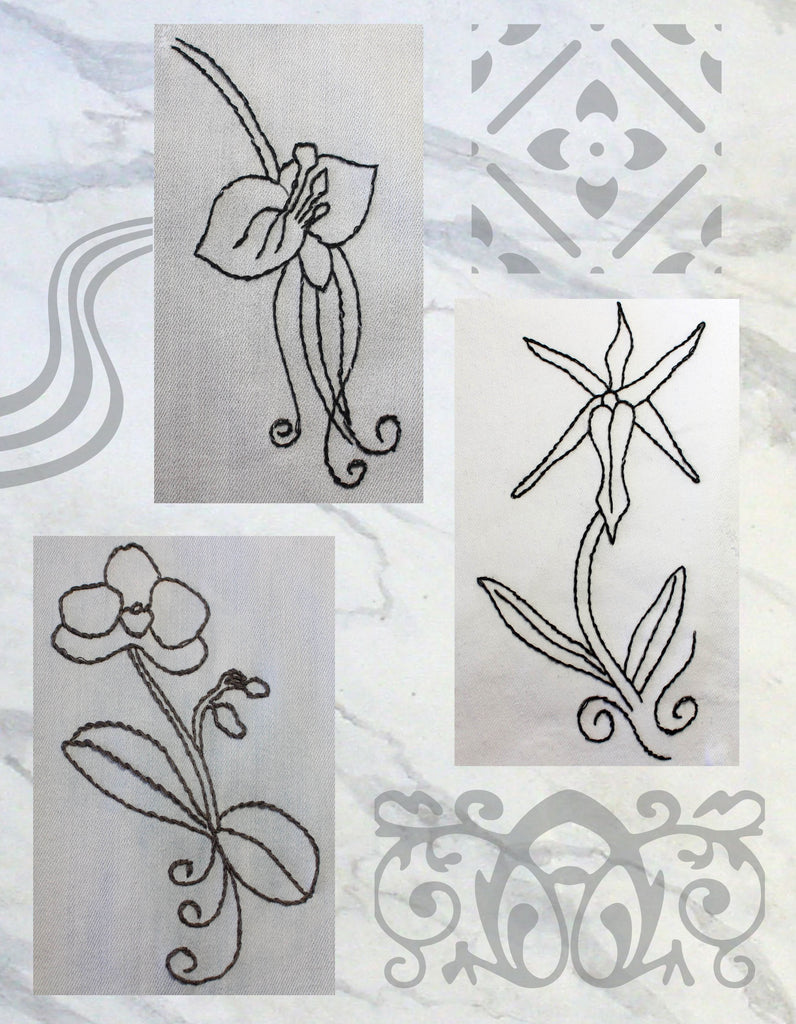 Orchid Fragrance are three orchid embroidery designs by Wendy Christine at Raspberry Lane Crafts