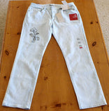 Levi's 545 Mid Rise Skinny Jean Hazy Day Size 14 with hand-embroidered orchid for sale