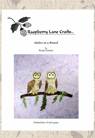 Owlets on a Branch Quilt Block Digital Download