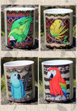 Tropical Parrot Birds Mug Set of Four Cups for Sale