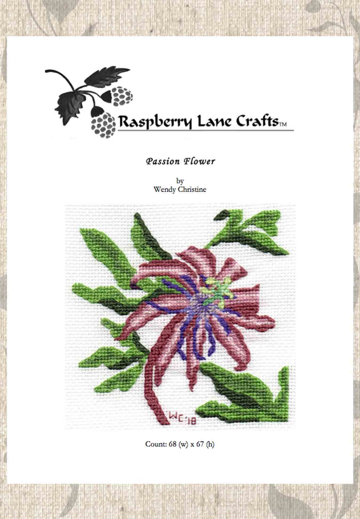 Buy Passion Flower Cross Stitch Pattern Download.  Purchase Find at Raspberry Lane Crafts