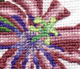 Close up image of Passion Flower cross stitch pattern completed design.