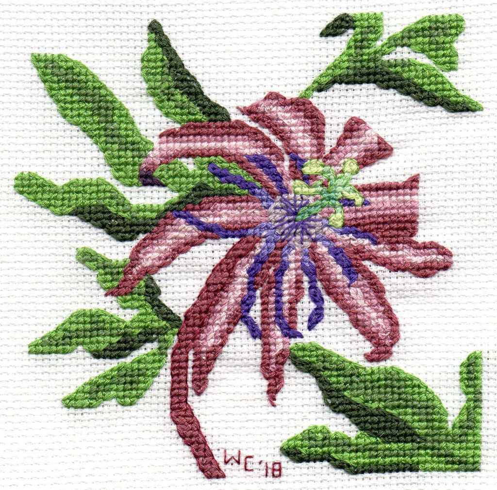Passion Flower cross stitch pattern depicts a maroon purple and pink flower with green leaves.  Purchase at Raspberry Lane Crafts