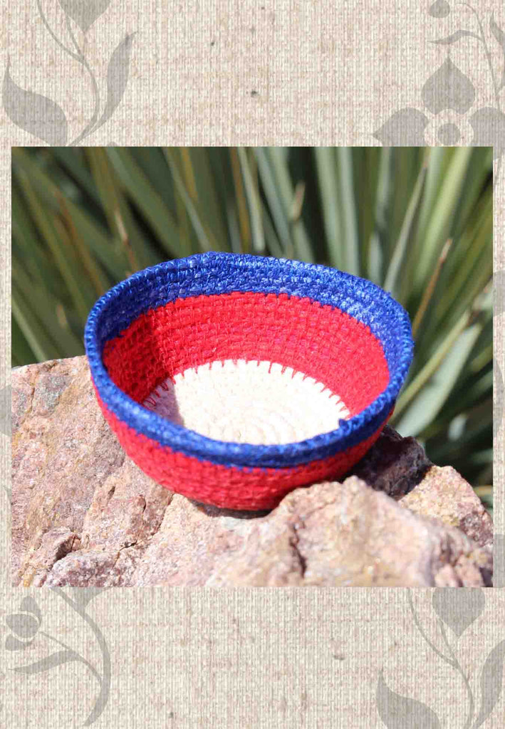 Red white blue mini baskets made of cotton.   Hand-crafted in USA