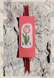 Peach tulip bookmark cross stitch pattern - buy at Raspberry Lane Crafts - Antique Flower Cross-Stitch Collection