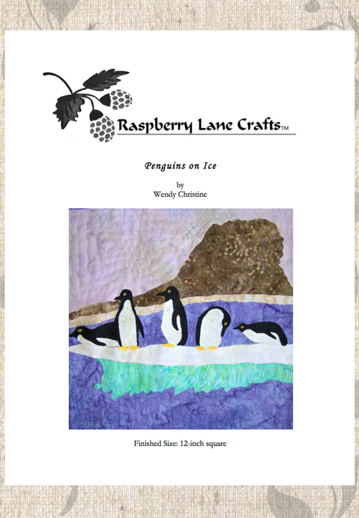 Penguins on ice quilt pattern download for sale at Raspberry Lane Crafts