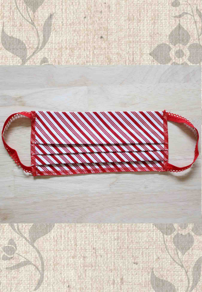 Red Peppermint Stripe Fabric Face Masks for Sale at Raspberry Lane Crafts