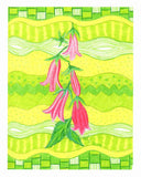 Hot pink bellflowers on lime green print 8 x 10 inches by Wendy Christine in Raspberry Lane Home Collection