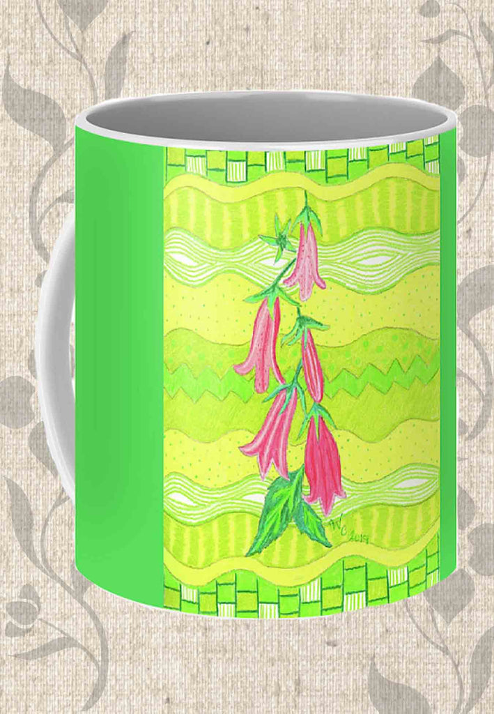 Buy Bright Green Mug with Flowers at Raspberry Lane Crafts. Pink Bellflowers Coffee Mug