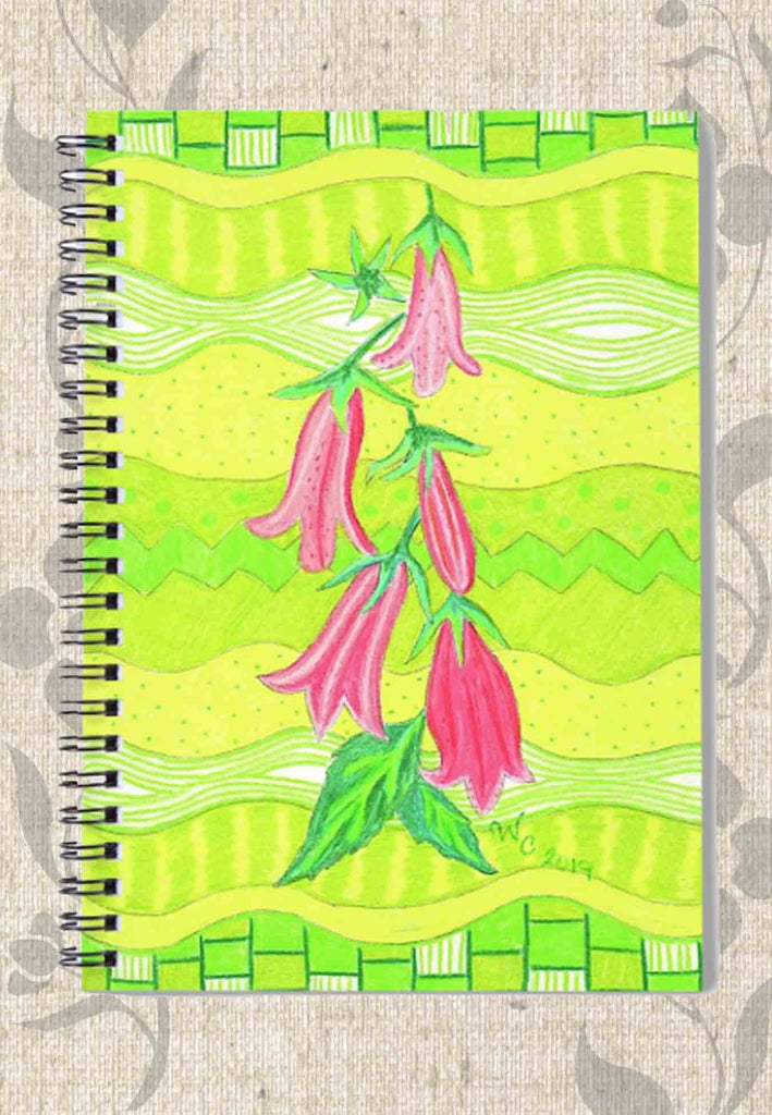 Pink Bellflowers is a lime green spiral bound notebook for sale from The Art of Wendy Christine