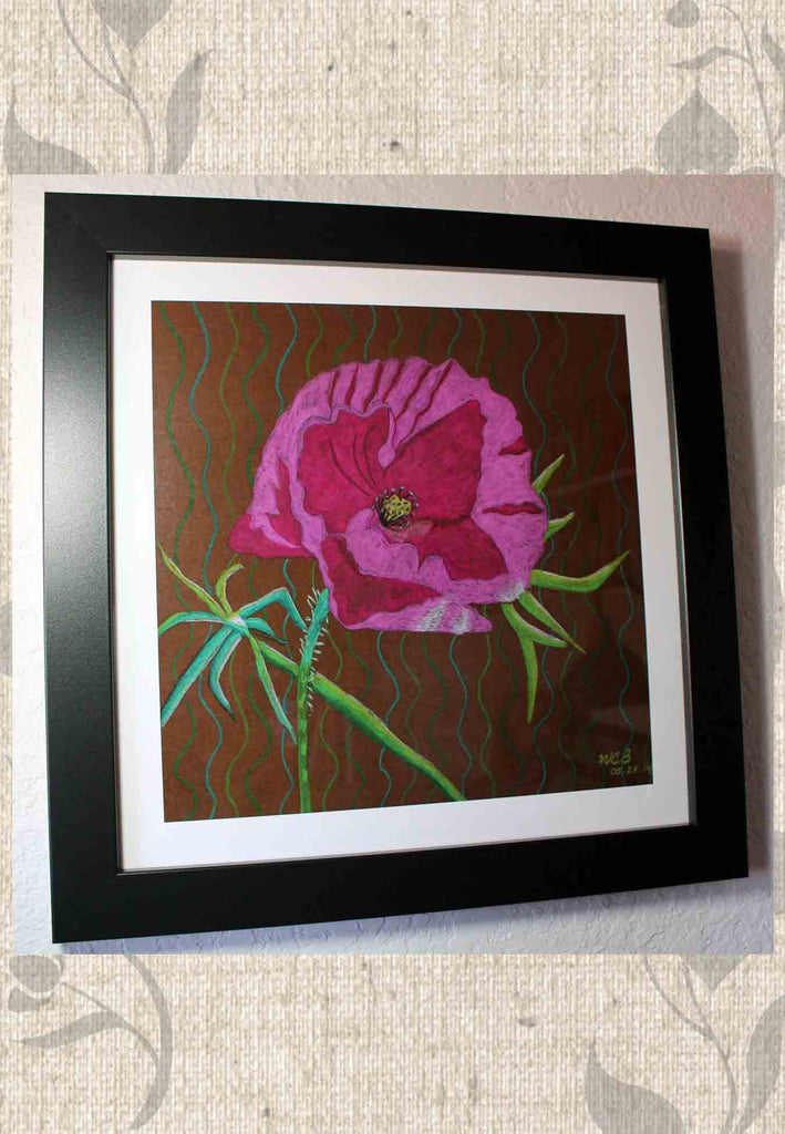 Pink Peony Flower on Brown Art Print Framed for Sale at Raspberry Lane Crafts