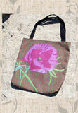 Pink Blush Peony Flower Tote Bags for Sale feature Pink Flower on Chocolate Brown.