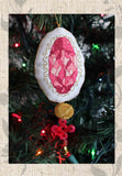 Pink Rhodochrosite Jewel Ornament cross stitch completed pattern featured in Jewel Ornaments Cross Stitch Pattern from Raspberry Lane Crafts. Buy Purchase for Sale