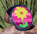 Hot pink flower compact mirror for purse desk teen tweens pre-teens.  Find, buy for sale at Raspberry Lane Crafts