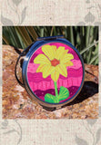 Pink Light Compact Mirrors by Wendy Christine for sale feature a hot pink with yellow flower compact mirror for purse and travel.  Buy find at Raspberry Lane Crafts